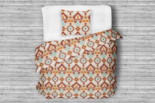TADOR, https://konsimo.pl/kolekcja/tador/ Komplet pościeli z bawełny jasny brąz/turkusowy/pomarańczowy - zdjęcie