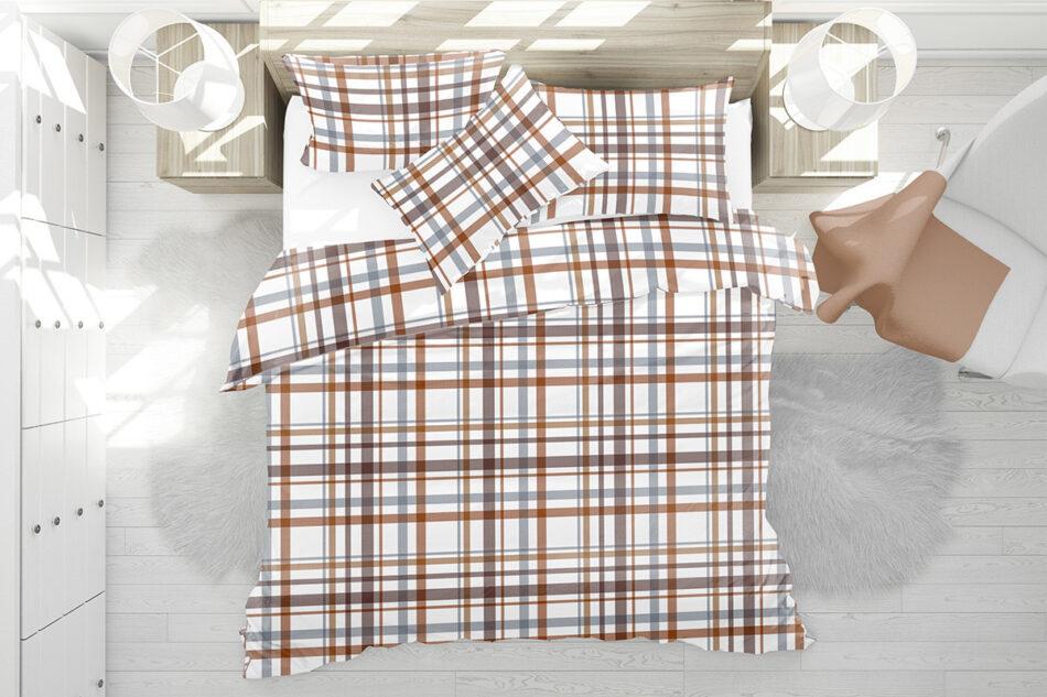 KOBES Komplet pościeli z bawełny biały/pomarańczowy/niebieski - zdjęcie 3