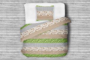 TERMES, https://konsimo.pl/kolekcja/termes/ Komplet pościeli z bawełny biały/brązowy/zielony - zdjęcie