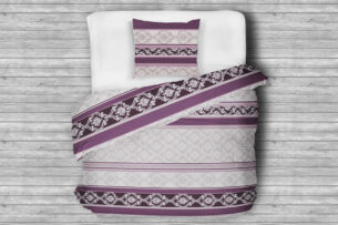 MARECA, https://konsimo.pl/kolekcja/mareca/ Komplet pościeli z bawełny satynowej szary/fioletowy - zdjęcie