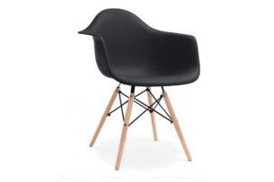 NEREA, https://konsimo.pl/kolekcja/nerea/ Czarne krzesło z podłokietnikami skandynawskie czarny - zdjęcie