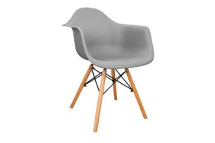 NEREA, https://konsimo.pl/kolekcja/nerea/ Szare krzesło z podłokietnikami skandynawskie szary - zdjęcie