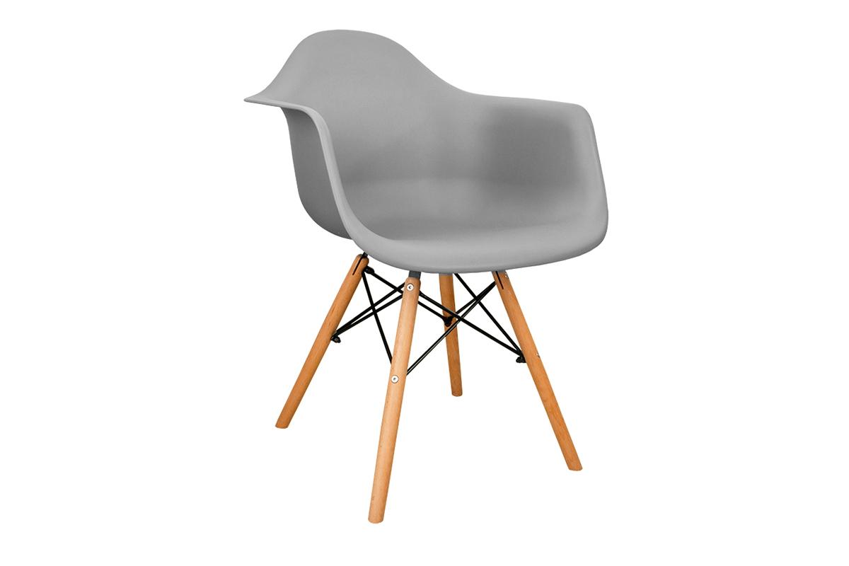 Szare krzesło z podłokietnikami skandynawskie