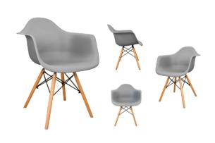 NEREA, https://konsimo.pl/kolekcja/nerea/ 4 szare krzesła z podłokietnikami skandynawskie szary - zdjęcie