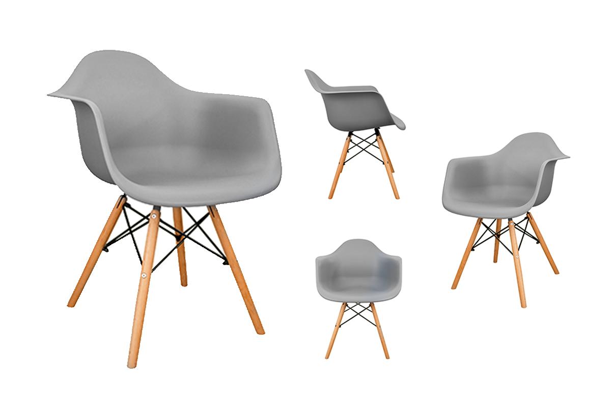 4 szare krzesła z podłokietnikami skandynawskie