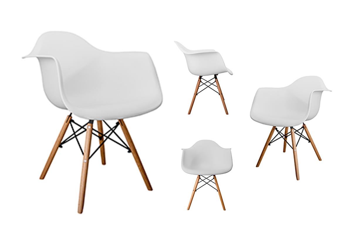 4 białe krzesła z podłokietnikami skandynawskie