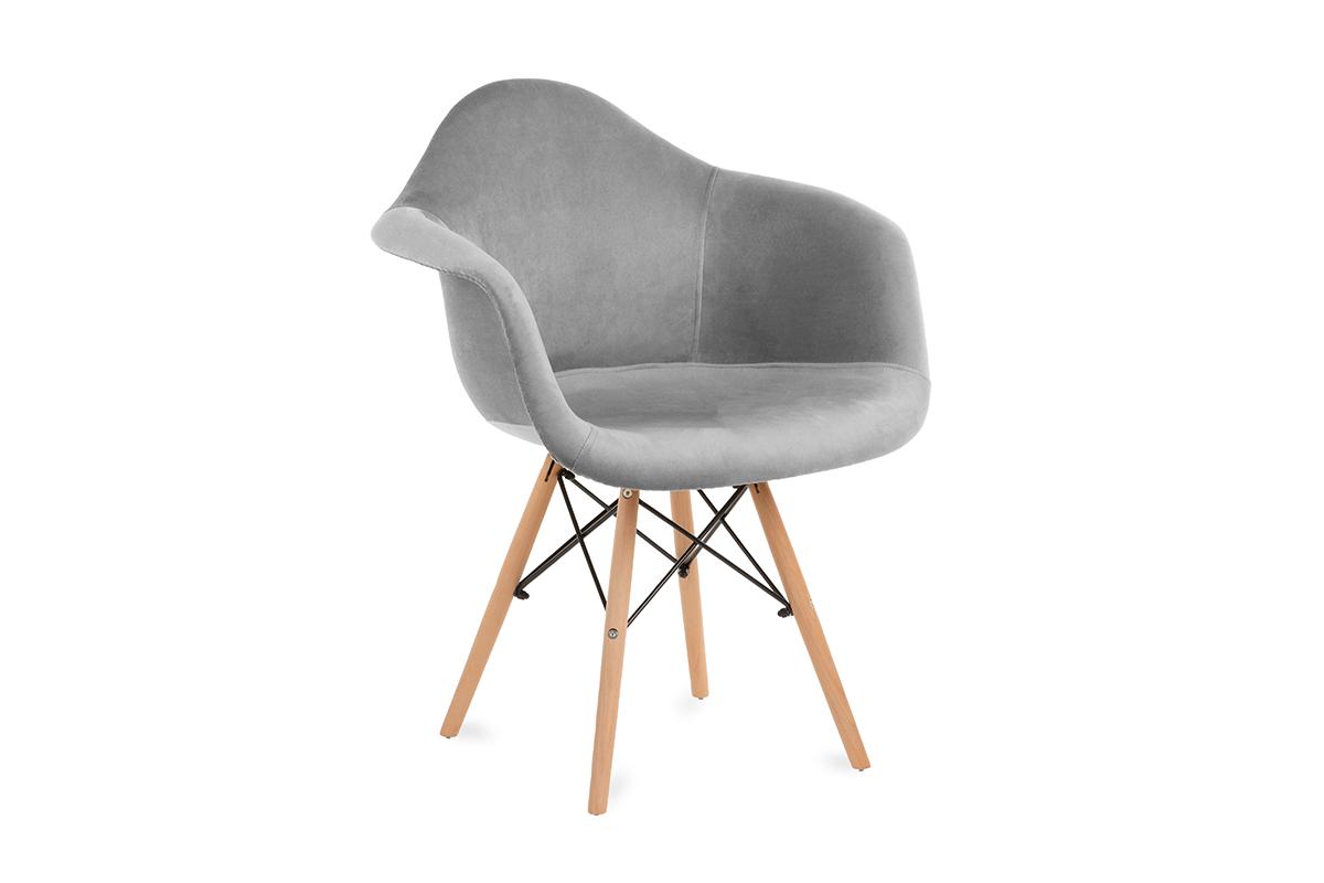 Szare welurowe krzesło z podłokietnikami skandynawskie