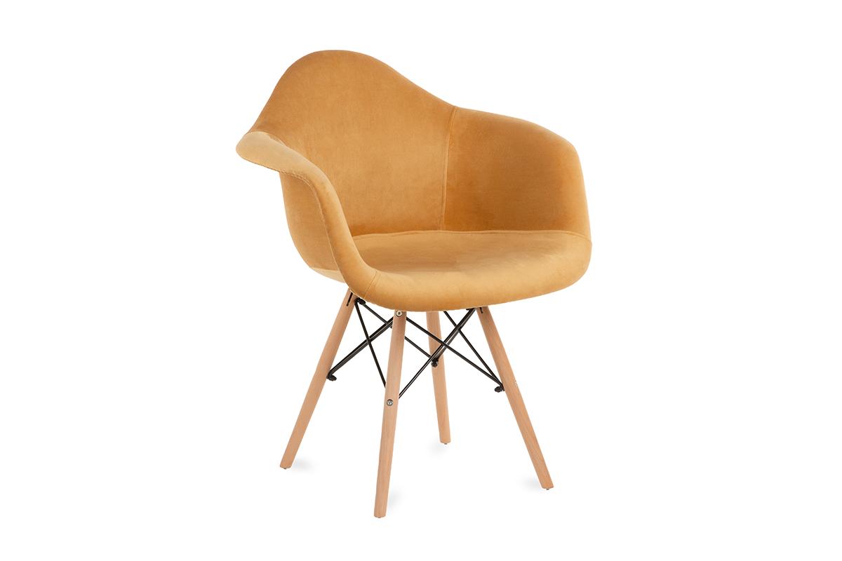 Żółte welurowe krzesło z podłokietnikami skandynawskie