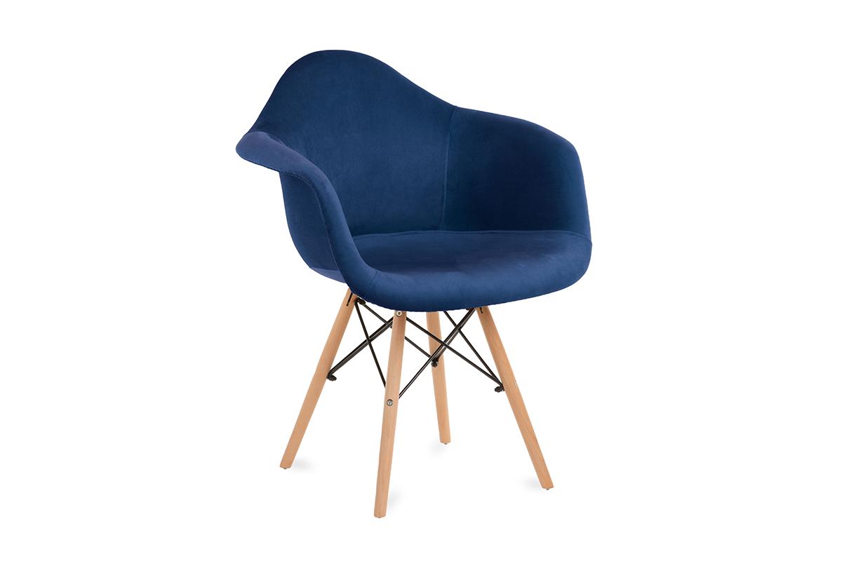 Granatowe welurowe krzesło z podłokietnikami skandynawskie
