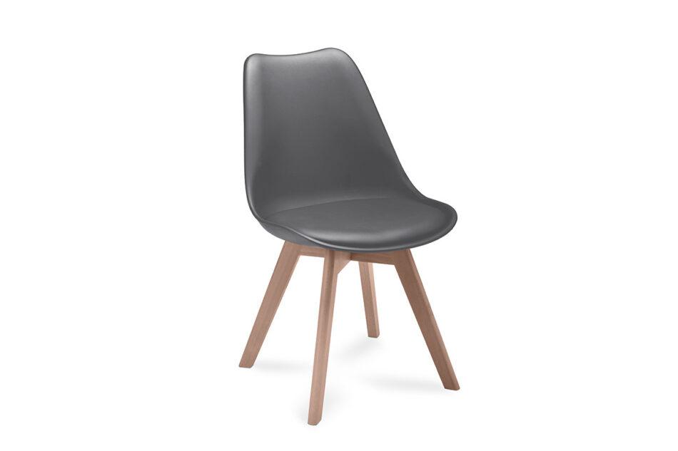 BESO Proste plastikowe krzesło na drewnianym stelażu szare szary - zdjęcie 0
