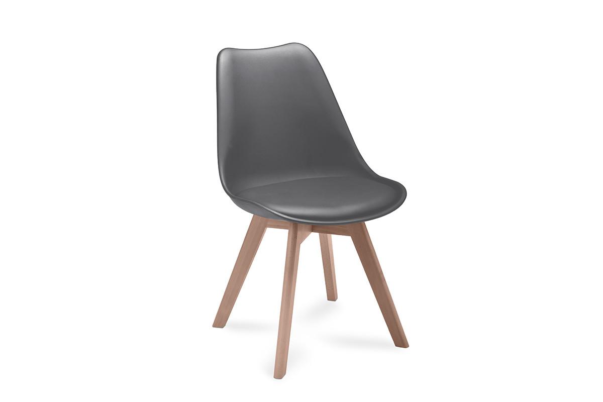 Proste plastikowe krzesło na drewnianym stelażu szare