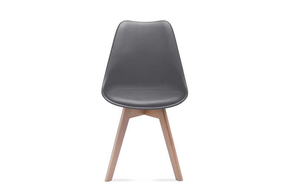 BESO Proste plastikowe krzesło na drewnianym stelażu szare szary - zdjęcie 1