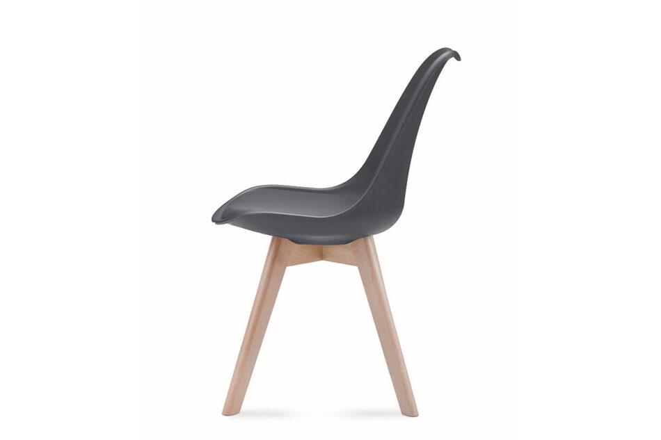 BESO Proste plastikowe krzesło na drewnianym stelażu szare szary - zdjęcie 4