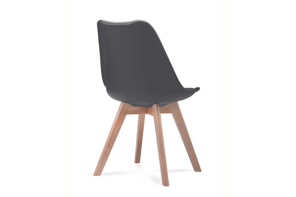 BESO Proste plastikowe krzesło na drewnianym stelażu szare szary - zdjęcie 3