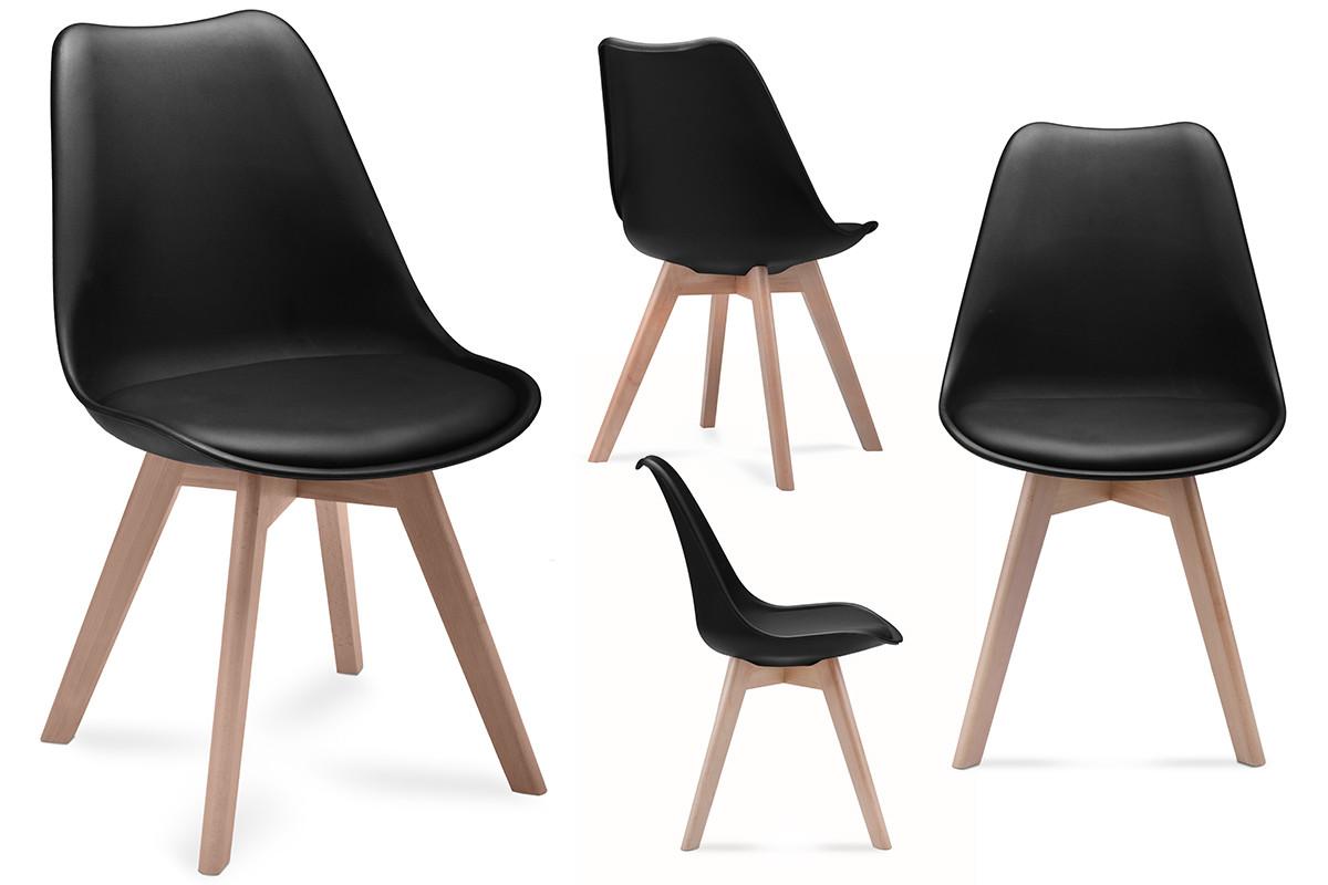 Komplet 4 czarnych krzeseł plastikowych