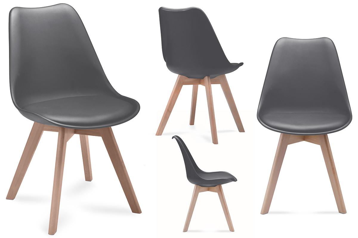 Komplet 4 szarych krzeseł plastikowych
