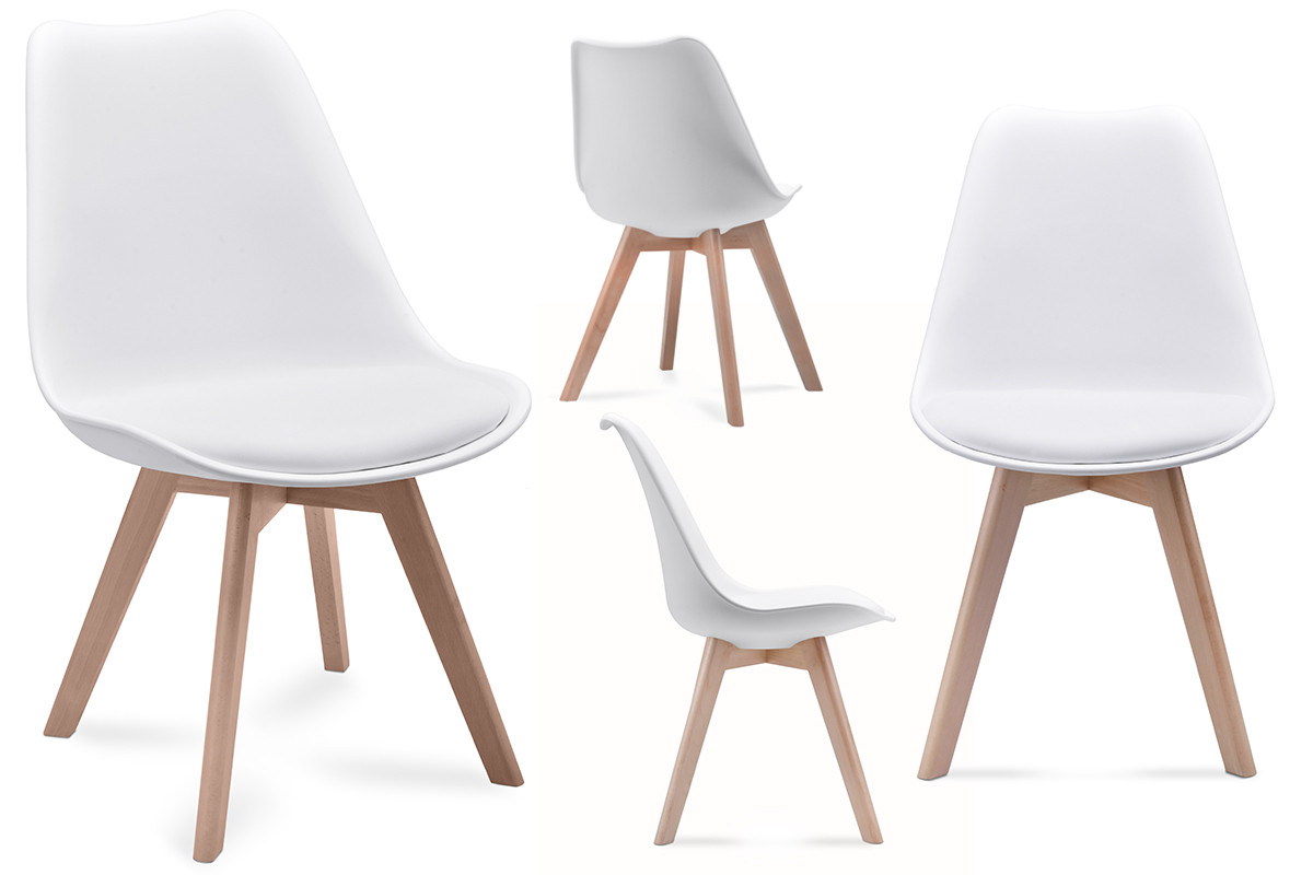 Komplet 4 białych krzeseł plastikowych