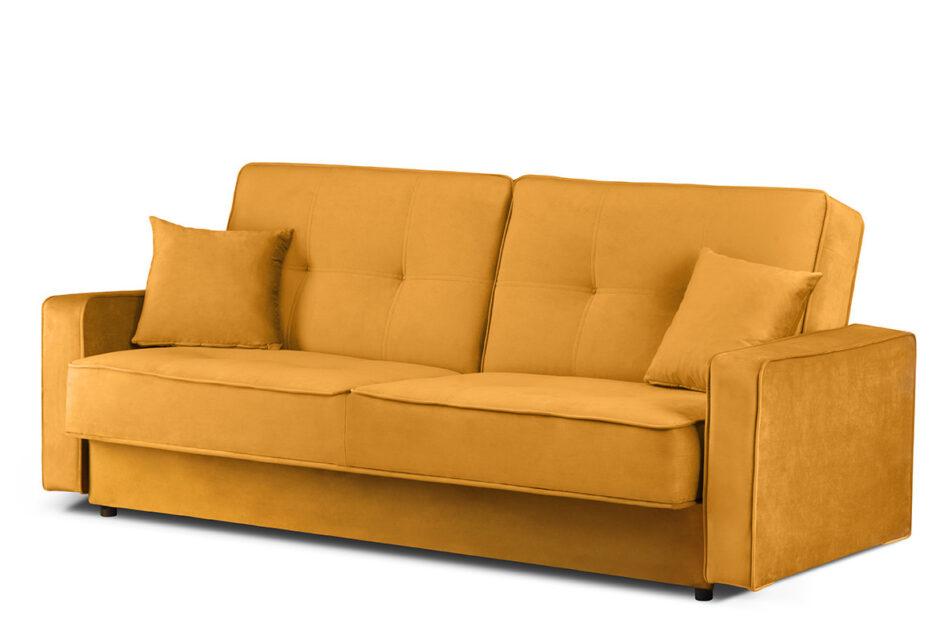 ORIO Żółta rozkładana kanapa do salonu welur żółty - zdjęcie 1