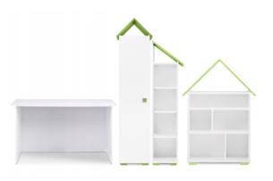PABIS, ZYGIO, https://konsimo.pl/kolekcja/pabis-zygio/ Zestaw meble do pokoju dziecka zielone 4 elementy biały/zielony - zdjęcie