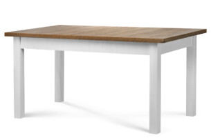 LEMAS, https://konsimo.pl/kolekcja/lemas/ Stół rozkładany styl prowansalski biały biały/ciemny dąb - zdjęcie