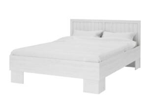 LEMAS, https://konsimo.pl/kolekcja/lemas/ Łóżko 160x200 styl prowansalski białe biały/ciemny dąb - zdjęcie