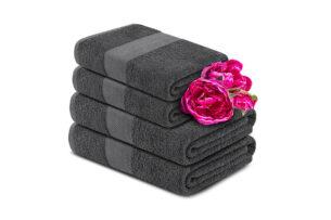 LENTE, https://konsimo.pl/kolekcja/lente/ Komplet ręczników średnich 4 szt. szary - zdjęcie