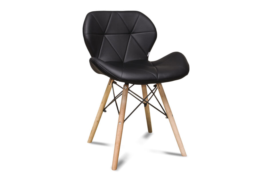 TRIGO Skandynawskie krzesło na drewnianym stelażu ekoskóra czarne czarny - zdjęcie 0