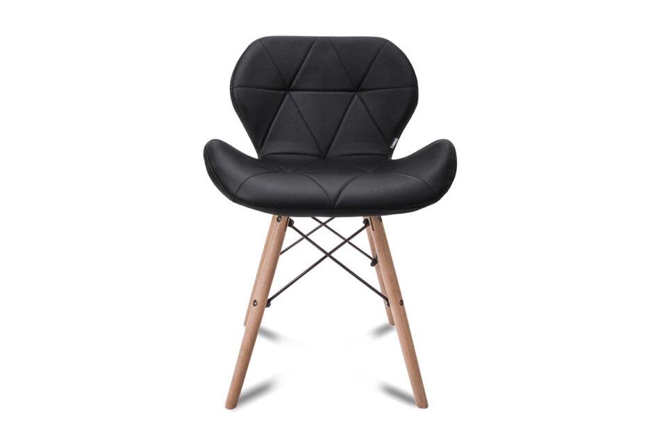 TRIGO Skandynawskie krzesło na drewnianym stelażu ekoskóra czarne czarny - zdjęcie 1