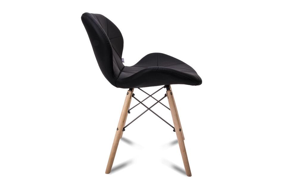 TRIGO Skandynawskie krzesło na drewnianym stelażu ekoskóra czarne czarny - zdjęcie 4