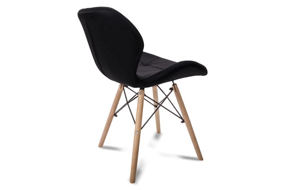 TRIGO Skandynawskie krzesło na drewnianym stelażu ekoskóra czarne czarny - zdjęcie 6