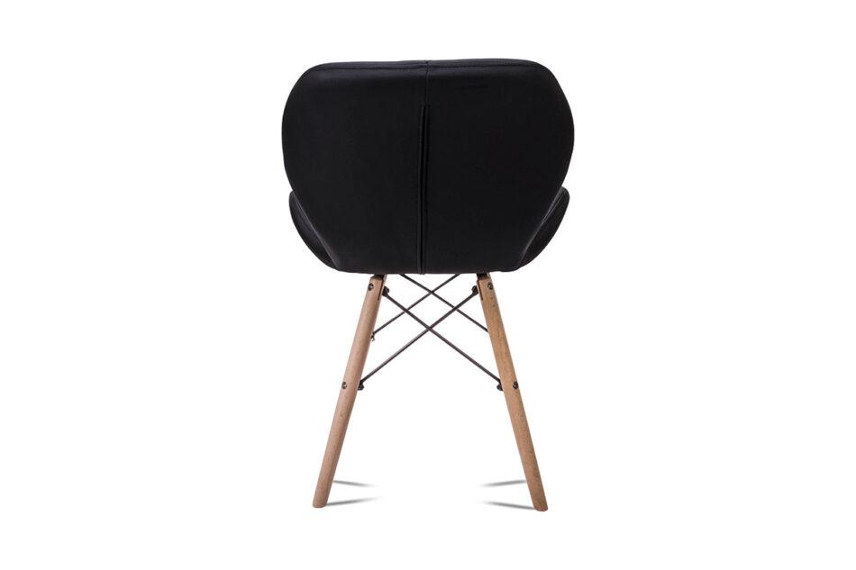 TRIGO Skandynawskie krzesło na drewnianym stelażu ekoskóra czarne czarny - zdjęcie 5