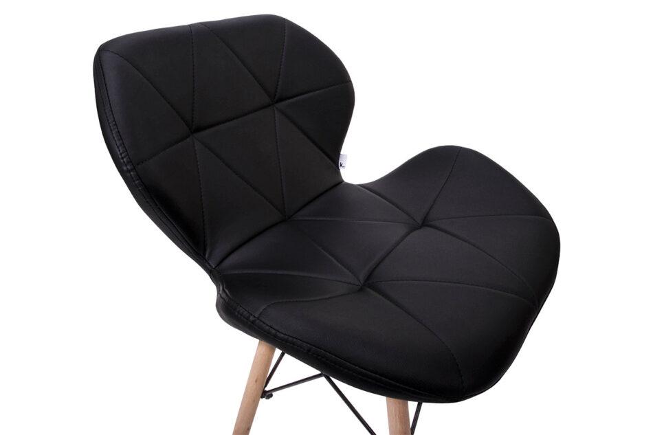 TRIGO Skandynawskie krzesło na drewnianym stelażu ekoskóra czarne czarny - zdjęcie 3
