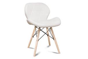 TRIGO, https://konsimo.pl/kolekcja/trigo/ Skandynawskie krzesło na drewnianym stelażu ekoskóra białe biały - zdjęcie