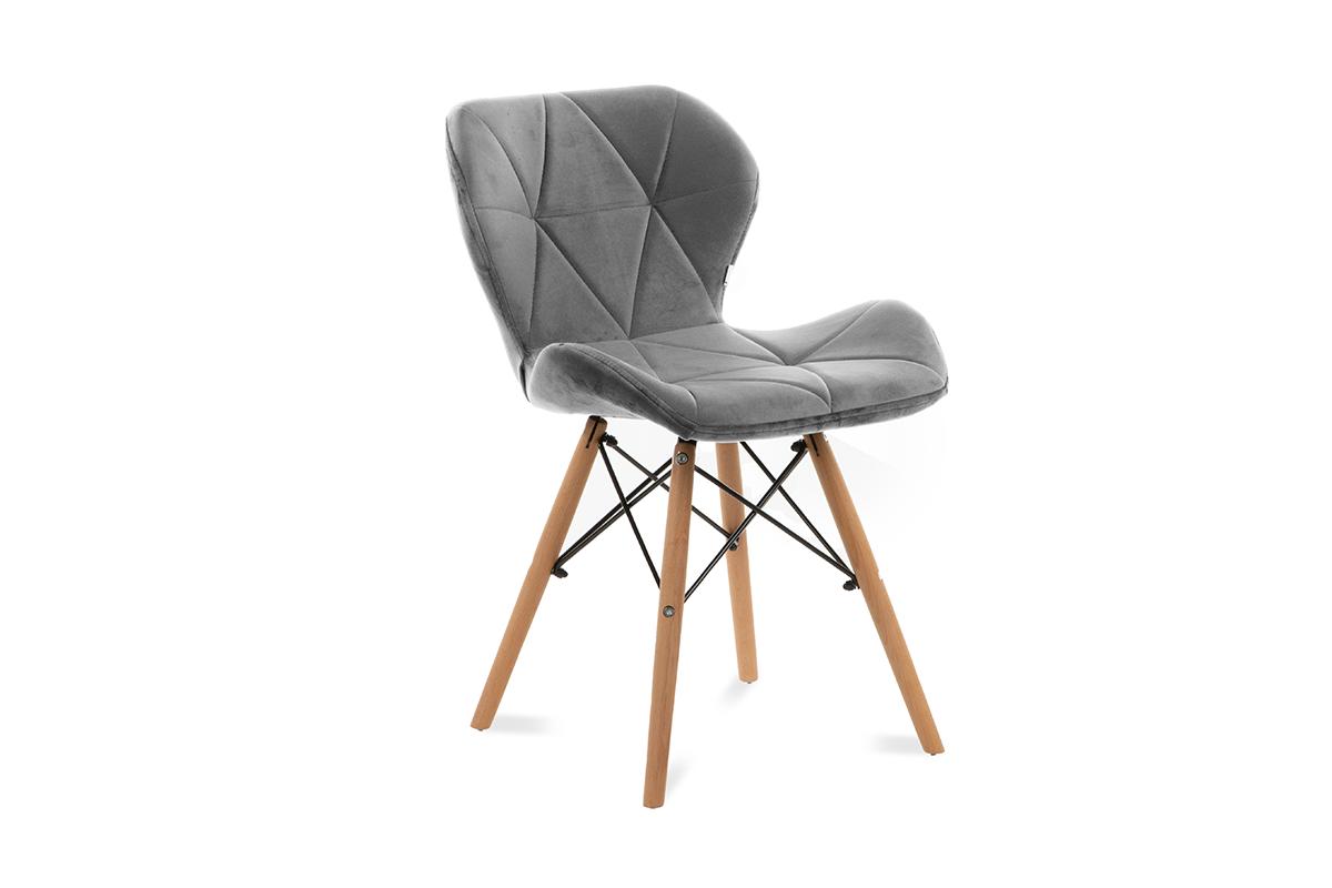 Skandynawskie krzesło na drewnianym stelażu jasnoszare