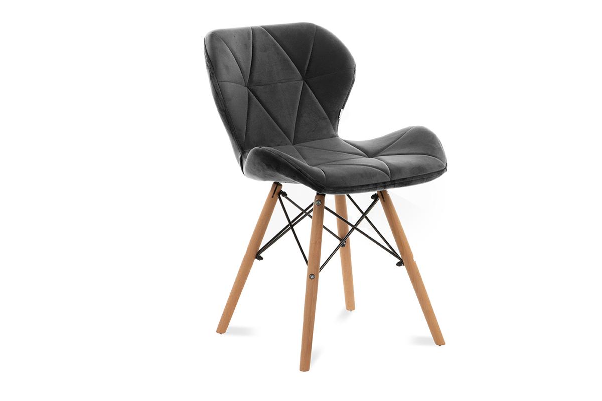 Skandynawskie krzesło na drewnianym stelażu ciemnoszare