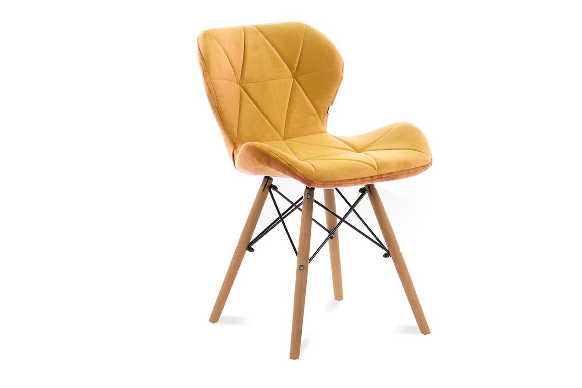 Skandynawskie krzesło na drewnianym stelażu żółte