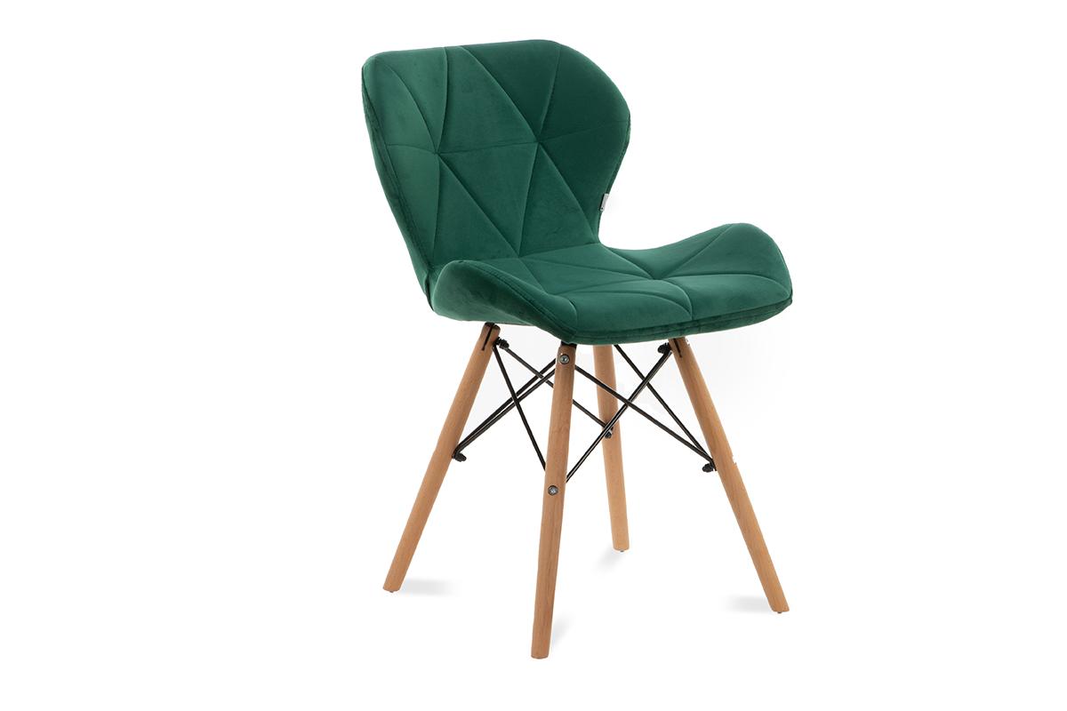 Skandynawskie krzesło na drewnianym stelażu butelkowa zieleń