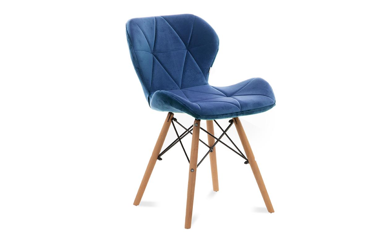 Skandynawskie krzesło na drewnianym stelażu granatowe