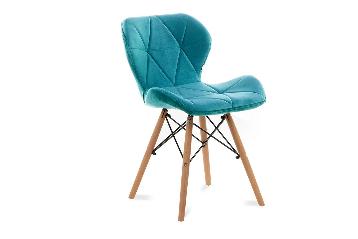 Skandynawskie krzesło na drewnianym stelażu turkusowe
