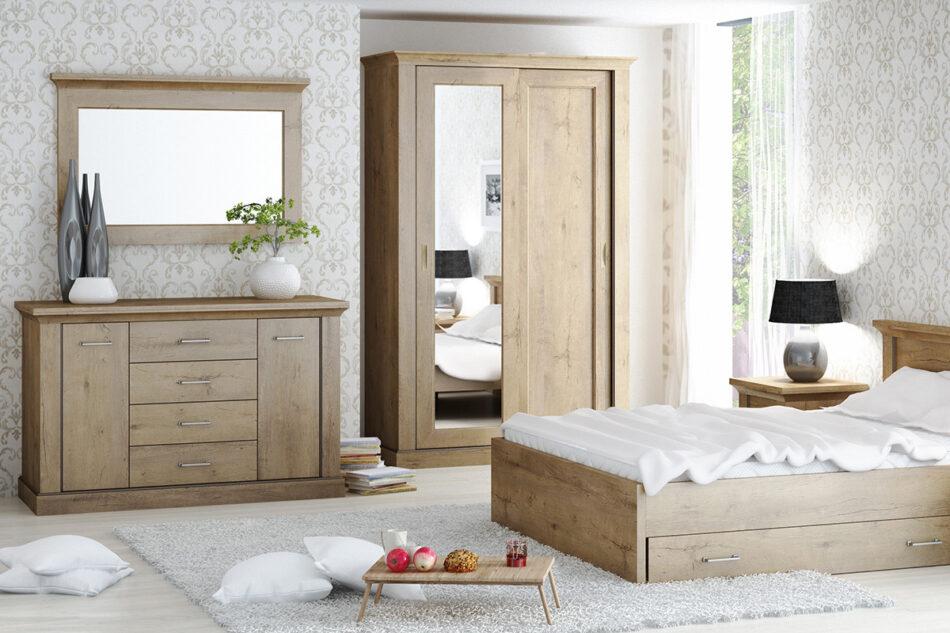 VETIS Komoda z szufladami i półkami 80 cm w stylu klasycznym dąb szary dąb naturalny - zdjęcie 1