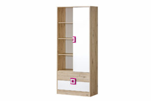 CAMBI, https://konsimo.pl/kolekcja/cambi/ Kolorowy regał 80 cm do pokoju dziecka biały / jasny dąb / różowy biały/jasny dąb/różowy - zdjęcie