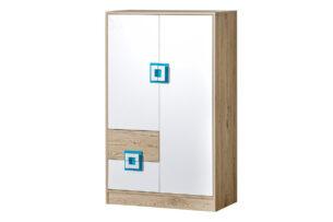 CAMBI, https://konsimo.pl/kolekcja/cambi/ Kolorowa wysoka komoda z półkami i szufladą biała / jasny dąb / turkusowa biały/jasny dąb/turkusowy - zdjęcie