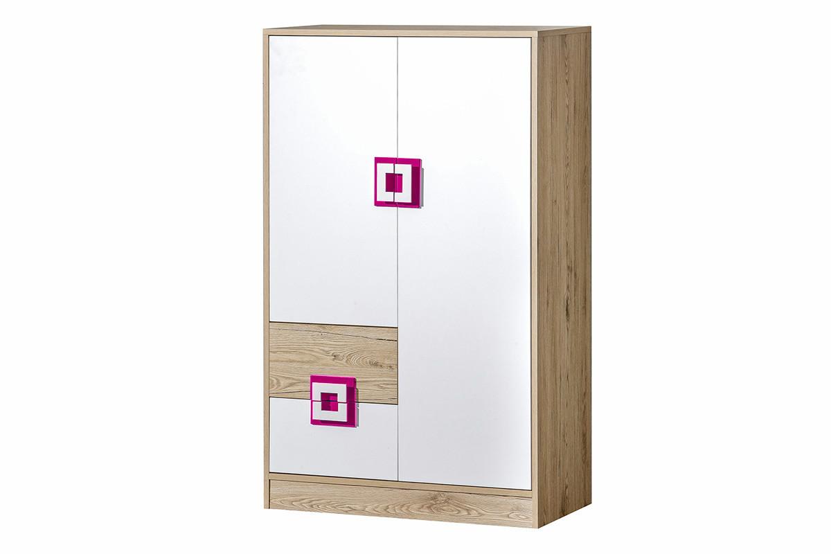 Kolorowa wysoka komoda z półkami i szufladą  do pokoju dziecka biała / jasny dąb / różowa