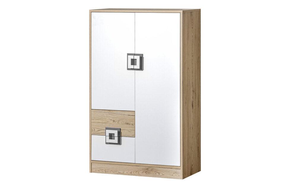 CAMBI Kolorowa wysoka komoda z półkami i szufladą  do pokoju dziecka biała / jasny dąb / szara biały/jasny dąb/szary - zdjęcie