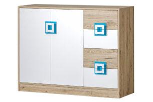 CAMBI, https://konsimo.pl/kolekcja/cambi/ Kolorowa komoda 120 cm z półkami i szufladami  do pokoju dziecka biała / jasny dąb / turkusowa biały/jasny dąb/turkusowy - zdjęcie