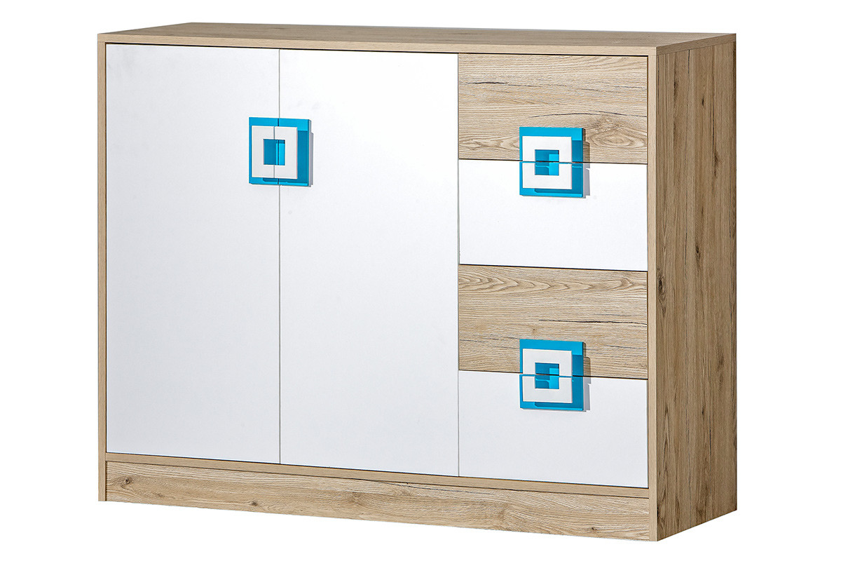 Kolorowa komoda 120 cm z półkami i szufladami  do pokoju dziecka biała / jasny dąb / turkusowa