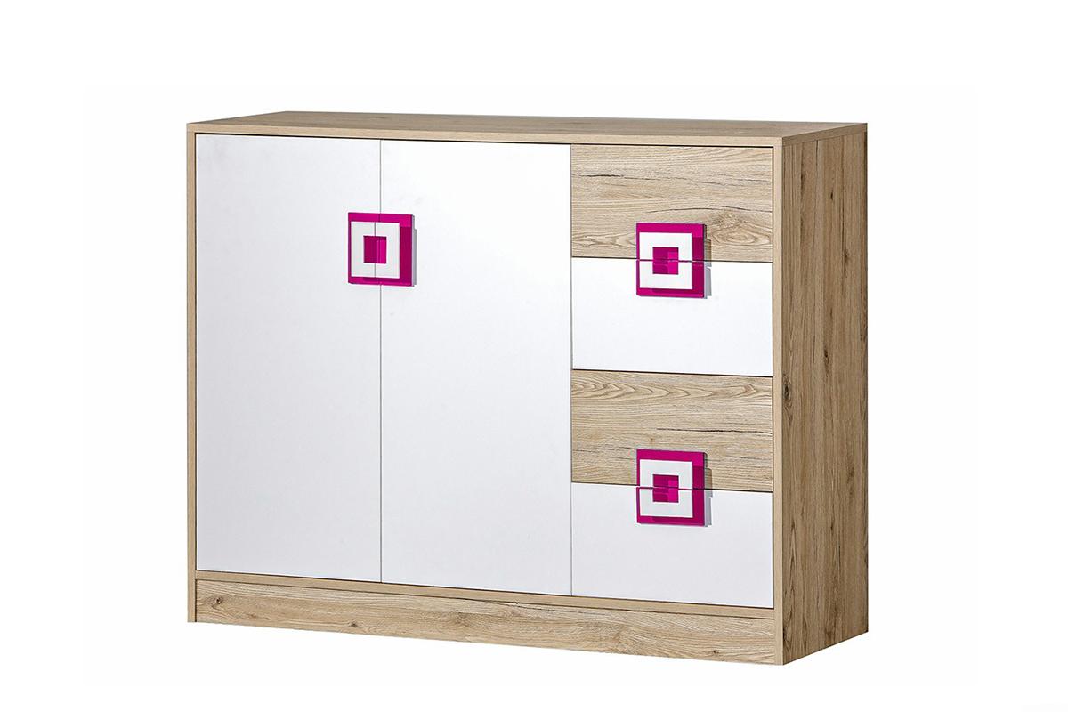 Kolorowa komoda 120 cm z półkami i szufladami  do pokoju dziecka biała / jasny dąb / różowa