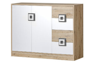 CAMBI, https://konsimo.pl/kolekcja/cambi/ Kolorowa komoda 120 cm z półkami i szufladami  do pokoju dziecka biała / jasny dąb / szara biały/jasny dąb/szary - zdjęcie