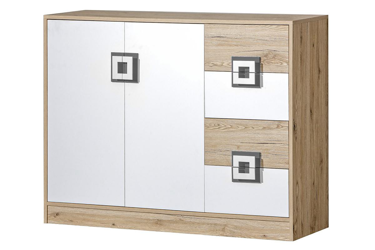 Kolorowa komoda 120 cm z półkami i szufladami  do pokoju dziecka biała / jasny dąb / szara