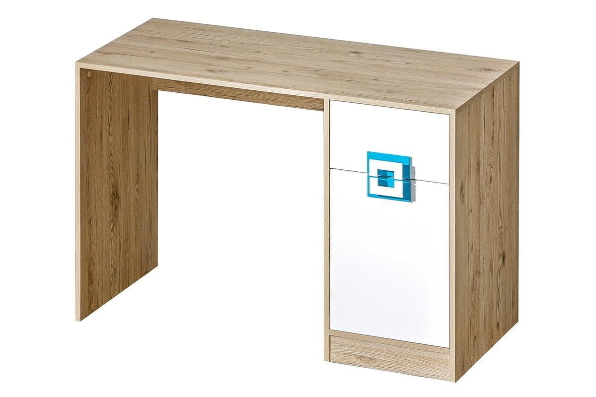Kolorowe biurko do pokoju dziecięcego białe / jasny dąb / turkusowe